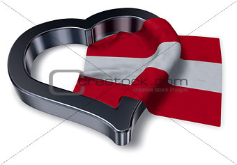 austrian flag and heart symbol - 3d rendering