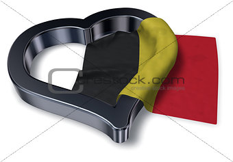 flag of belgium and heart symbol - 3d rendering