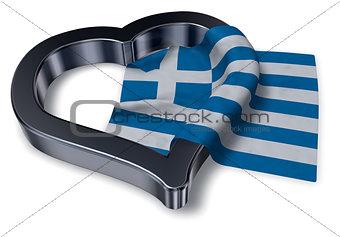greek flag and heart symbol - 3d rendering