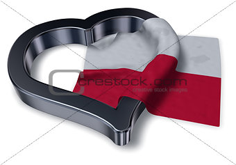 flag of poland and heart symbol - 3d rendering