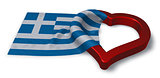 greek flag and heart symbol - 3d rendering