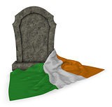 gravestone and flag of ireland - 3d rendering