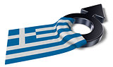 mars symbol and flag of greece - 3d rendering