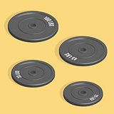 Weight plate for barbell in 3D, vector illustration.