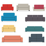 Set of flat sofa icons, vector illustration.