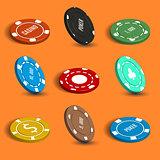 Casino chip, vector illustration.