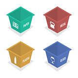 Metal container for garbage in isometric, vector illustration.