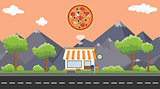 pizza food store on sidewalk with tree and mountain as background