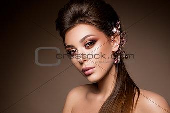 Beautiful woman with professional make up