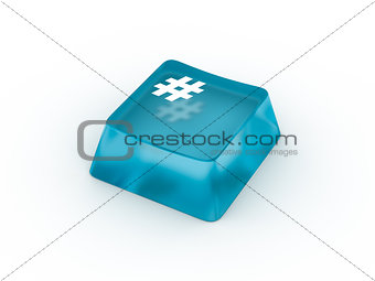 Pound sign on keyboard button. 3D rendering