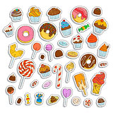 Doodle sweets set. Ice cream, donuts, cupcakes, chocolate, candies.