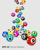 Vector Colorful Bingo balls fall randomly.