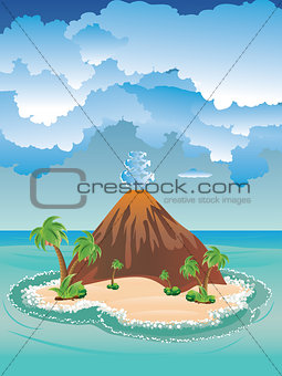 Cartoon Volcano Island