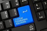 Custom Fundraising Solutions on Blue Keyboard Key. 3D.