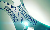 Business Success - Mechanism of Metallic Cogwheels. 3D.