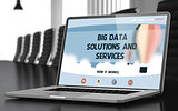 Big Data Solutions And Services on Laptop. 3D.