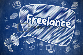 Freelance - Hand Drawn Illustration on Blue Chalkboard.