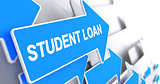Student Loan - Text on Blue Arrow. 3D.
