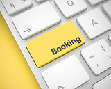 Booking - Message on Yellow Keyboard Keypad. 3D.