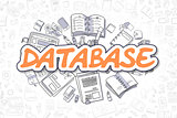 Database - Doodle Orange Word. Business Concept.