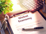 Global Economy Concept on Clipboard. 3D.