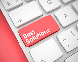 Best Solutions - Message on the Red Keyboard Keypad. 3D.