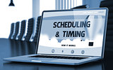 Scheduling and Timing Concept on Laptop Screen. 3D.