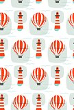 Hand drawn vector cartoon seamless pattern with lighthouse,hot air balloon and sea waves isolated on white background