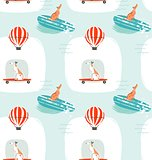 Hand drawn vector cartoon drawing summer time fun seamless pattern illustration with riding dogs on skateboards and dogs on surfboard isolated on blue background.