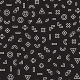 Scattered Geometric Shapes. Inspired by Memphis Style. Abstract Background Design. Vector Seamless Black and White Irregular Pattern.