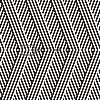 Abstract ZigZag Parallel Stripes. Stylish Ethnic Ornament. Vector Seamless Pattern.