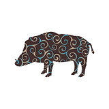 Boar wildlife color silhouette animal