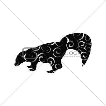 Skunk mammal color silhouette animal