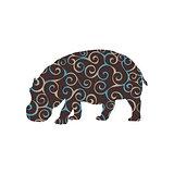 Hippo mammal color silhouette animal