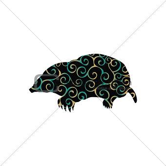 Mole insectivores mammal color silhouette animal