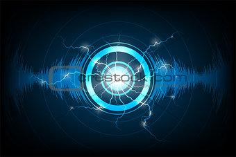 Audio technology on dark blue background.