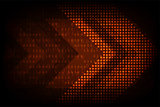 Vector digital arrows on a dark orange background.