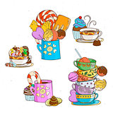 Sweets in cups with different candies and cookies.