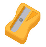 Sharpener for pencils icon, flat, cartoon style. Isolated on white background. Vector illustration.