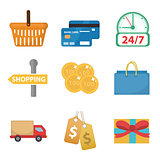 Shopping icon set, flat style. Shop icons collection isolated on white background. Store objects and items. Vector illustration, clip-art.