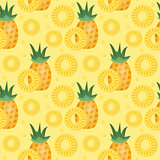 Pineapple seamless pattern. Ananas slices endless background, texture. Fruits background. Vector illustration.