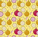 Onions seamless pattern. Bulb onion endless background, texture. Vegetable background. Vector illustration.
