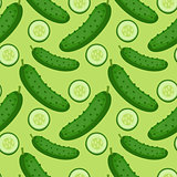 Cucumber seamless pattern. endless background, texture. Vegetable backdrop Vector illustration.