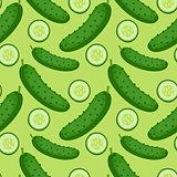 Cucumber seamless pattern. endless background, texture. Vegetable backdrop Vector illustration.