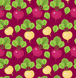 Radish seamless pattern. Red and white radishes endless background, texture. Vegetable background. Vector illustration.