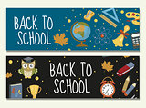 Back to school set of banners, template with space for text for your design. Education collection long board, poster, flyer. Flat style. Vector illustration.
