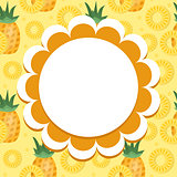Pineapple label, wrapper template for your design. Fruit frame with space for text. Vector illustration.