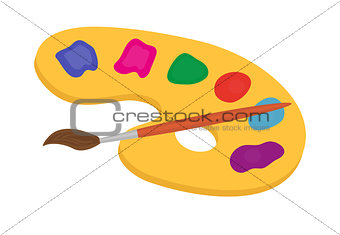 Palette of paints and brush for drawing icon, flat, cartoon style. Isolated on white background. Vector illustration.