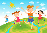 Globe kids. Children Earth day. Vector