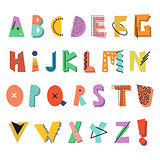Memphis alphabet. Colorful funny font. Fashion 80-90s.